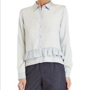 Club Monaco denim ruffle trim shirt